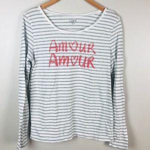 LOFT Amour long sleeve striped shirt size M